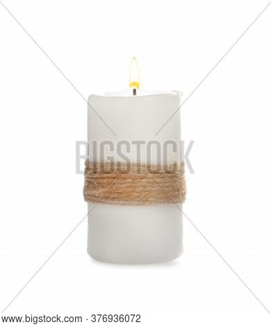 Wax Candle Decorated With Twine Isolated On White