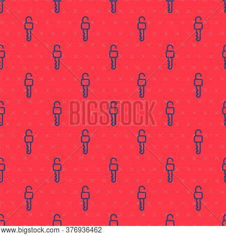 Blue Line Unlocked Key Icon Isolated Seamless Pattern On Red Background. Vector Illustration