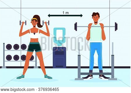 New Normal Concept And Physical Distancing People In Fitness And Keep Social Distance To Prevent Fro