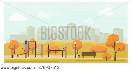 Autumn Urban Park Landscape Flat Illustration With Street Workout Zone. Sport Playground, Outdoor Gy