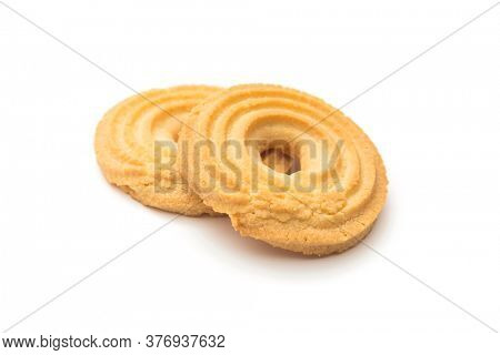 Butter ring biscuits on white background