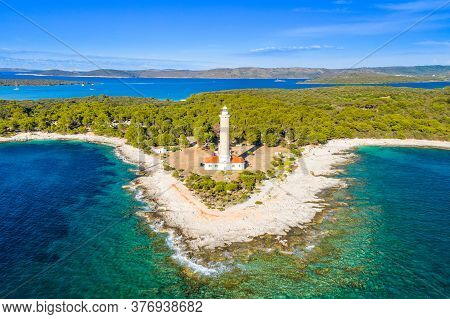 Beautiful Croatia, Spectacular Adriatic Coastline, Lighthouse Of Veli Rat On The Island Of Dugi Otok
