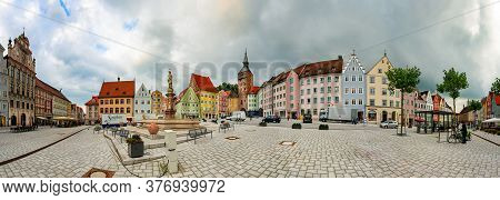 Landsberg Am Lech, Germany - September 25, 2014: Panorama Of Old City Centre With Traditional Archit