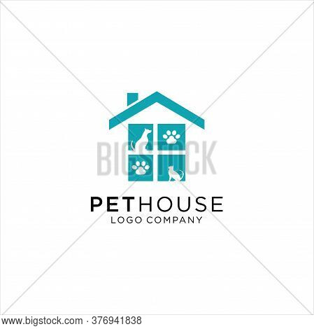 Dog And Cat Logo Design, Dog Cat Pet House Logo Vector Icon, Pet Shop, Dog Lover Logo Design Templat
