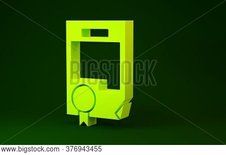 Yellow Certificate Template Icon Isolated On Green Background. Achievement, Award, Degree, Grant, Di