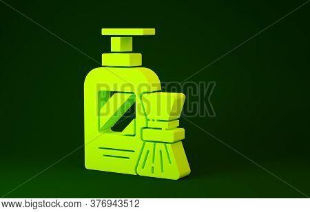 Yellow Shaving Gel Foam And Brush Icon Isolated On Green Background. Shaving Cream. Minimalism Conce