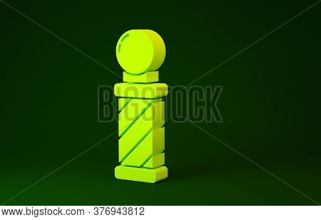 Yellow Classic Barber Shop Pole Icon Isolated On Green Background. Barbershop Pole Symbol. Minimalis