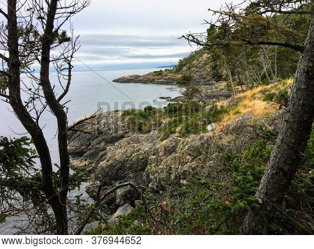 The Beautiful Rugged Coastline Of The Famous East Sooke Coast Trail Along The Rocky Shores Of Southe