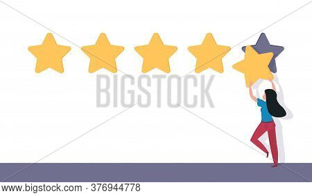Five Star Rating. Flat Man Holding 5 Stars. Rating And Feedback Vector Concept. Best Rank Illustrati