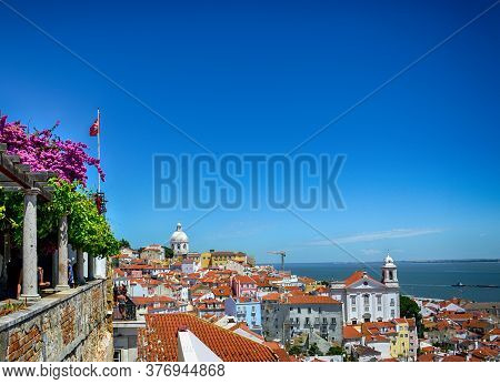 Beautiful Panoramic View From Santa Luzia Viewpoint To Alfama Old Town, With Santa Estevao Church, N