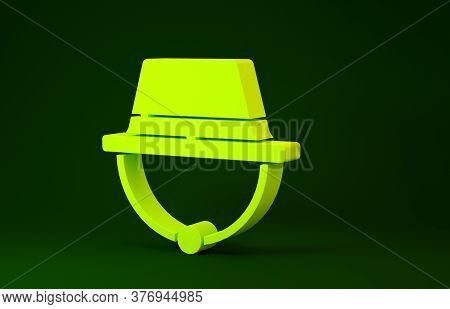 Yellow Camping Hat Icon Isolated On Green Background. Beach Hat Panama. Explorer Travelers Hat For H