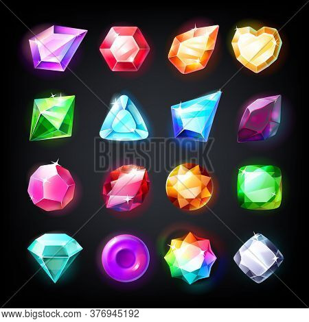 Gems. Cartoon Jewelry Stones For Game Achievement And Currency, Icon Set Of Colored Shiny Crystals.