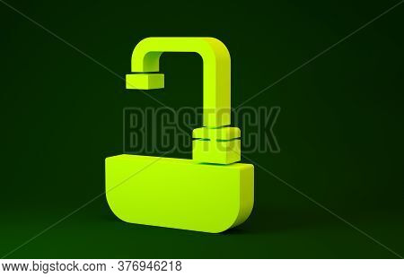 Yellow Washbasin With Water Tap Icon Isolated On Green Background. Minimalism Concept. 3d Illustrati
