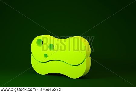 Yellow Sponge Icon Isolated On Green Background. Wisp Of Bast For Washing Dishes. Cleaning Service C
