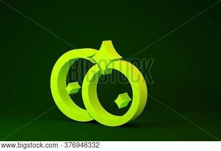 Yellow Washing Dishes Icon Isolated On Green Background. Cleaning Dishes Icon. Dishwasher Sign. Clea
