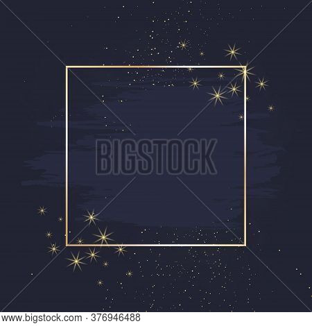 Magic Night Dark Blue Card With Sparkling Glitter And Line Art. Square Shaped Vector Wedding Invitat