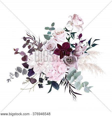 Dusty Pink, Pastel, Mauve Flowers Glamour Vector Design Wedding Bouquet. Hydrangea, Rose, Dahlia, Or