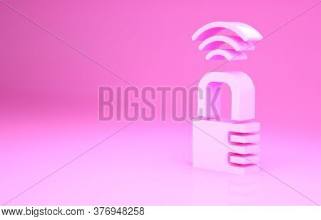 Pink Smart Safe Combination Lock Icon Isolated On Pink Background. Combination Padlock. Security, Sa