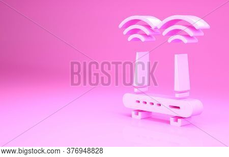 Pink Router And Wi-fi Signal Icon Isolated On Pink Background. Wireless Ethernet Modem Router. Compu