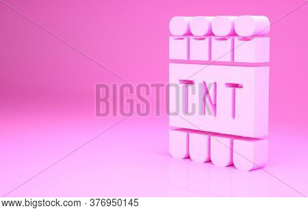 Pink Detonate Dynamite Bomb Stick And Timer Clock Icon Isolated On Pink Background. Time Bomb - Expl