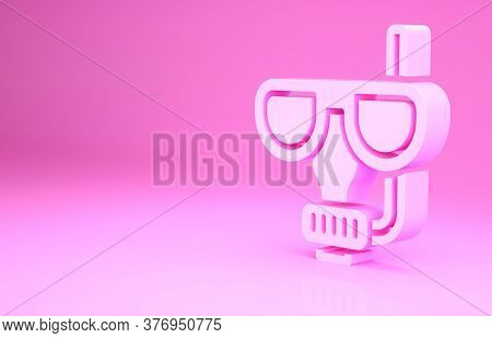 Pink Diving Mask And Snorkel Icon Isolated On Pink Background. Extreme Sport. Diving Underwater Equi