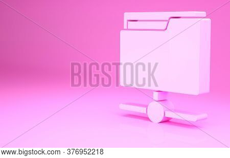 Pink Ftp Folder Icon Isolated On Pink Background. Software Update, Transfer Protocol, Router, Teamwo
