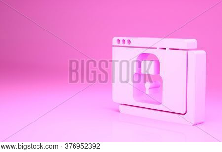 Pink Secure Your Site With Https, Ssl Icon Isolated On Pink Background. Internet Communication Proto