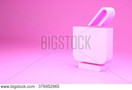Pink Mortar And Pestle Icon Isolated On Pink Background. Minimalism Concept. 3d Illustration 3d Rend