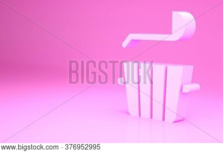 Pink Sauna Bucket And Ladle Icon Isolated On Pink Background. Minimalism Concept. 3d Illustration 3d