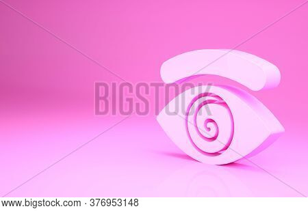 Pink Hypnosis Icon Isolated On Pink Background. Human Eye With Spiral Hypnotic Iris. Minimalism Conc