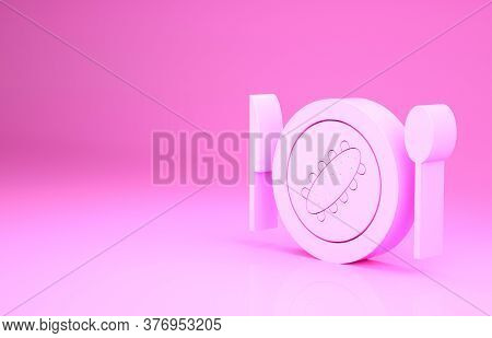 Pink Served Cucumber On A Plate Icon Isolated On Pink Background. Marine Food. Minimalism Concept. 3