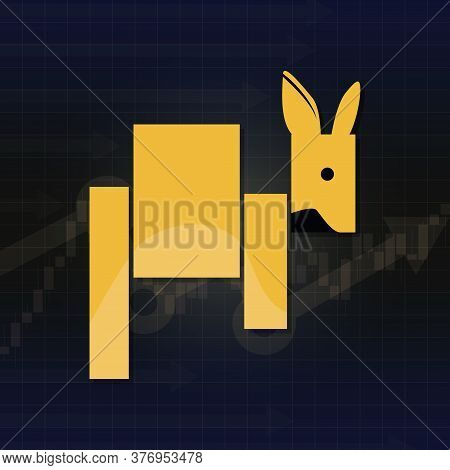 Kangaroo symbols on stock market vector. Fund, forex or commodity price charts, on abstract background. Symbol of the yellow kangaroo candle stick graph chart, sensitive investment trading. Sideway trend
