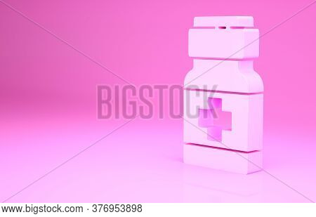 Pink Medicine Bottle And Pills Icon Isolated On Pink Background. Medical Drug Package For Tablet, Vi