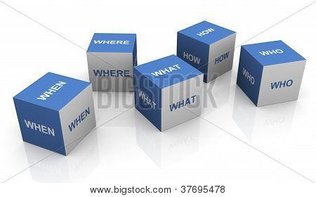 3D Questions Words Cubes