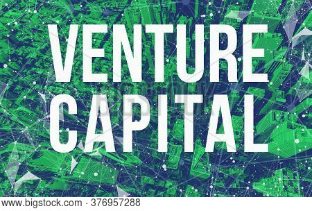 Venture Capital Theme With Abstract Network Patterns And Manhattan Ny Skyscrapers