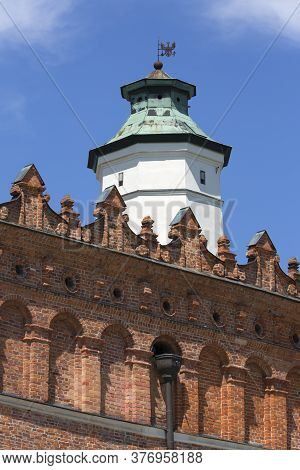 Sandomierz, Poland - July 10, 2020: View On Decorative Attic Of Gothic Town Hall And Clock Tower. Sa