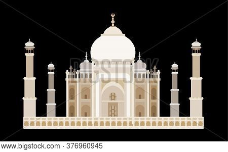 India Famous Temple With Towers. Flat Style Vector New Version