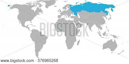 Russia, Benin Countries Isolated On World Map. Light Gray Background. Travel And Transport Backgroun