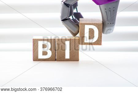 Word Bid On Keyboard Background, Business Concept