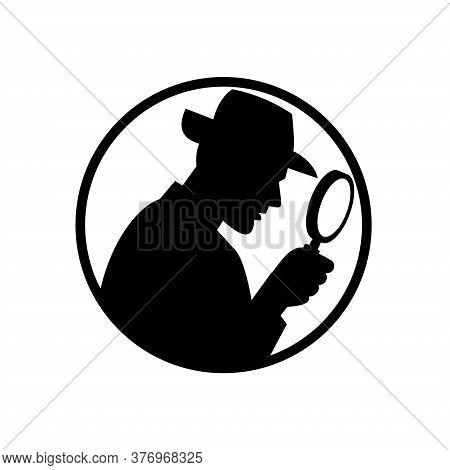 Retro Black And White Style Illustration Of A Silhouette Of A Detective, Private Investigator Or Pri