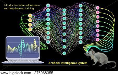 Artificial Intelligence System. Stylized Activity In Rat Brain With Neuron Waves. Neural Networks An
