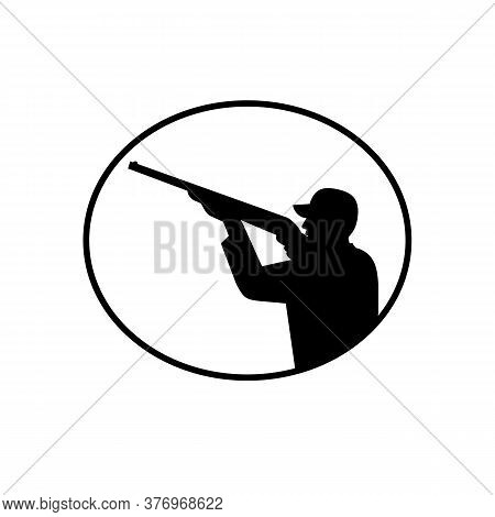 Illustration Of A Silhouette Of A Wild Game Bird Hunter With Shotgun Rifle Aiming And Shooting Viewe