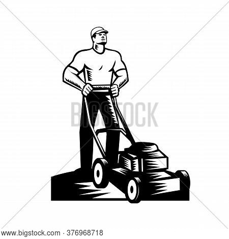 Black And White Illustration Of Male Gardener, Landscaper, Groundsman Or Groundskeeper With Lawn Mow