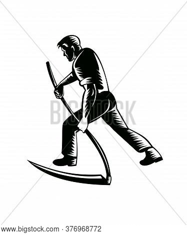 Illustration Of An Organic Farmer, Horticulturist, Agriculturist Or Gardener Working With Scythe Vie