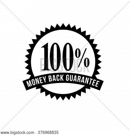 Icon Mark Seal Sign  Illustration Showing 100% Percent Money Back Guarantee Stamp, Rosette Or Badge
