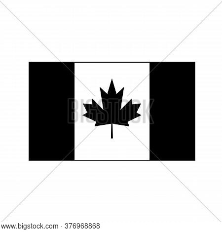 Black And White Or Monochrome Flag Of The State,  Nation Or Country Of Canada On Isolated Background