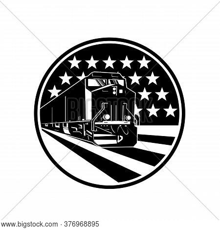 Illustration Of An American Diesel Locomotive Train Viewed From Front Set Inside Circle With Usa Sta