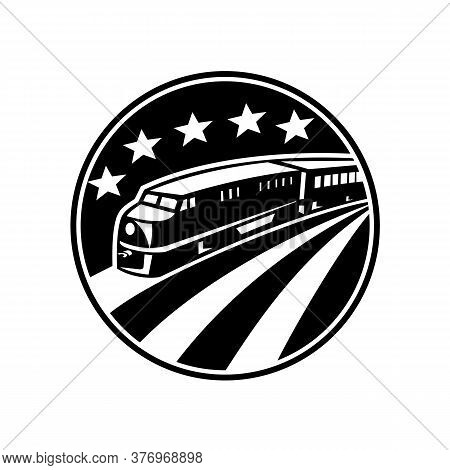 Illustration Of A Diesel Train Viewed From A High Angle Set Inside Circle With American Stars And St