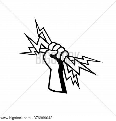Retro Style Illustration Of A Hand Of A Power Lineman, Electrical Worker Or Electrician Holding A Li