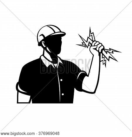 Retro Style Illustration Of A Power Lineman, Electrical Worker Or Electrician Holding A Lightning Bo